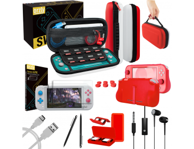 Orzly Nintendo Switch Lite Accessories Bundle - 2x Glass Screen Protector, USB cable, carrying case, headphones ect, Pokemon Edition