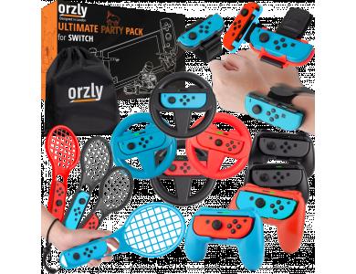 Orzly Nintendo Switch Partypack Accessories Bundle - 4x Racing Wheels, 4x Joy-Con Grips, 4x Tennis Rackets, 4x Dance Bands, Θήκη