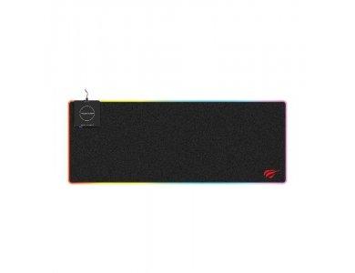 Havit MP902 XXL Gaming Mouse Pad Qi (80x30cm) With RGB LED & Wireless Charging 10W, Black