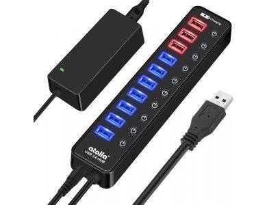 Atolla 11-Port (USB3.0 Data *7 + Smart Charging *4) 48W Data Hub με Individual Switch και φορτιστή USB - CH-210U3
