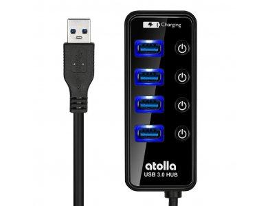 Atolla 5-Port (USB3.0 Data *4 + Smart Charging *1) Data Hub με Individual Switch - CH-204U3