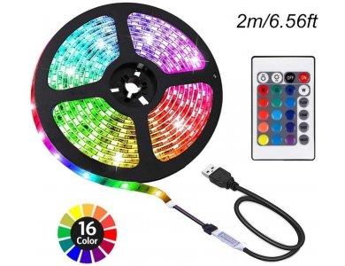 RGB LED Ταινία, Με Τηλεχειριστήριο, 16 Χρωματισμοί (Static & Rainbow), 5V, 2m