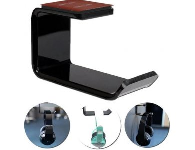 Nordic Headphone Hanger Holder, Wall Stand for Headset / Headphones, Under-Desk, 3M Adhesive, Black - GAME-N1024