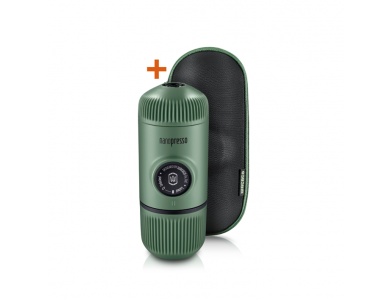 Wacaco Nanopresso GR Portable Espresso Machine, with Protectice Case, Elements Moss Green