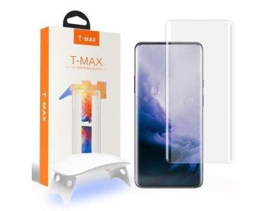 T-MAX OnePlus 8 UV Liquid Full Glue Tempered Glass & UV LED Lamp, 9H AntiCrash/AntiShock, Clear (With Lamp)
