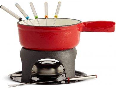 VonShef Swiss Fondue Set, Cast Iron Pot, fondue set with 6 forks - 1500048