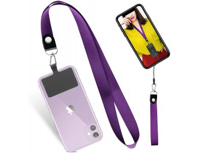 UKON Phone Lanyard/ Strap for Mobile Case, with Patch, Universal, Purple, Set of 2