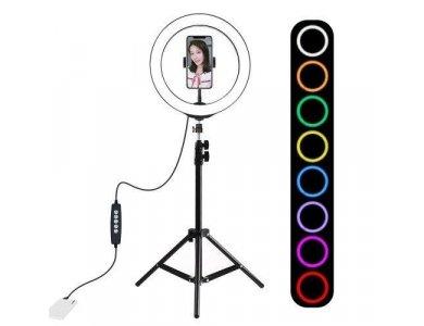 "Puluz RGB LED Ring Light 10.2"" - 26cm Dimmable & Adjustable Color Temperature & Tripod 110cm Ύψος - PKT3044"