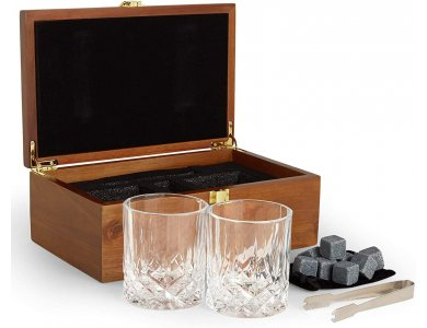 VonShef Whisky Glasses & Stones Gift Set - Whisky Set Gift, with 2 Glasses, Metal Ice Tongs, 8 Stones and Wooden Box- 1000252