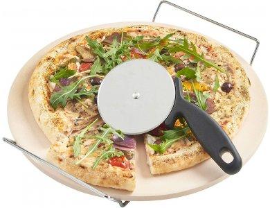 VonShef Pizza Stone 33cm με Χερούλια/Σταντ Σερβιρίσματος και Ρόδα κοπής - 07/047
