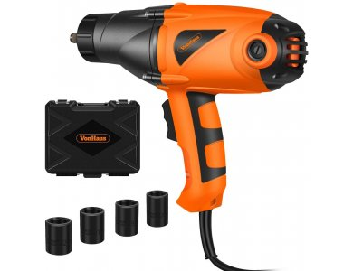 VonHaus Impact Wrench 1/2'', Electric Nut Removal Tool 450Nm, With Hard Case & 4 Socket Sizes, 2m. Cable - 3500185