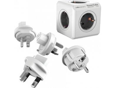 Allocacoc PowerCube Rewirable Πολύπριζο 4 Θέσεων Σούκο & 4 Travel Plugs, Γκρι - 1600/DERWPC