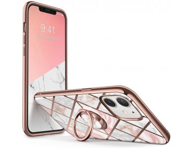 i-Blason iPhone 12 Mini Cosmo Snap Casde with Ring Holder Kickstand, Marble Pink