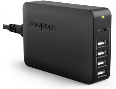 RAVPower 60W Desktop Charger 60W 5-Port USB with 45W Power Delivery Port - RP-PC059, Black