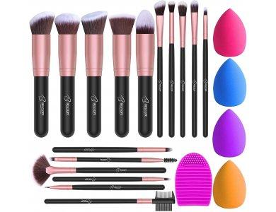 BESTOPE Makeup Brushes, Σετ 16 πινέλων μακιγιάζ, Cruelty-free, Vegan + 4 Beauty Sponges + 1 Brush Clean, με Θήκη - BP02020-BLK