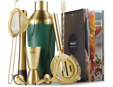 VonShef Cocktail Set 9τμχ., Set for Coctails Stainless Steel, Green & Brushed Gold - 1000021