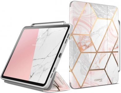 """i-Blason Cosmo iPad Pro 2020 / 2018 12.9"""" Trifold Case with Auto Sleep/Wake & Pencil Holder, Stand, Hard Back Cover, Marble Pink"""