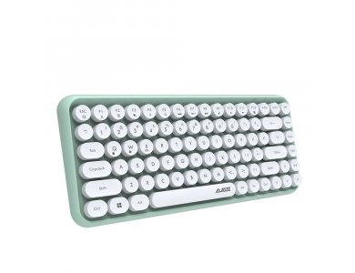 Ajazz 308i Ultra Compact Slim Profile Bluetooth Keyboard Multi-Device, Retro with Round Keys, Mint