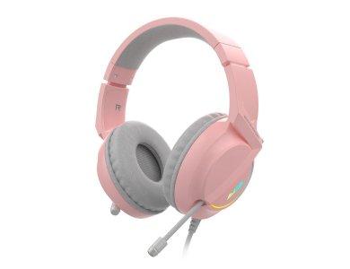 Ajazz AX365 Pink LED Gaming Headset 7.1 360° Surround Sound, HD Microphone, Quartz