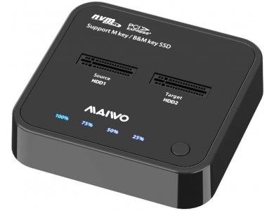 Maiwo K3016P 2-Bay NVME Docking Station, USB-C 3.1 GEN2 10Gbps, Dual Bay Clone Duplicator, M-Key and B + M Key