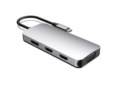 Nordic 7-In-1 USB-C OTG Hub with 2*4K HDMI 60Hz + VGA + DP + 3*USB3.0 Ports - DOCK-126