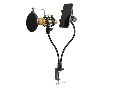 Nordic Dual Microphone Stand, Double Gooseneck Stand / Holder for Microphone & Smartphone - MFK-016