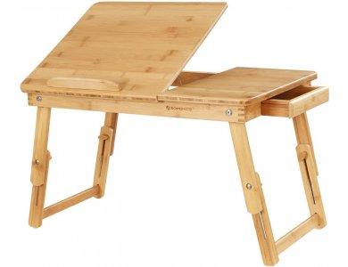 Songmics Γραφείο Laptop Κρεβατιού από Μπαμπού, Πτυσσόμενο και επικλινόμενο - LLD01N, Καφέ
