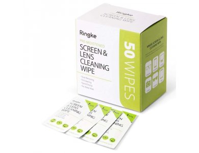 Ringke Screen & Lens Cleaning Alcohol Wipes, Wet Wipes for Cleaning Monitors/ Smartphones/ Lens/ Glasses and more, 50 pieces