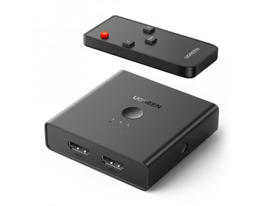 Ugreen HDMI 2-2 Switch/Splitter 4K@60Hz HDCP 2.2, Optical TOSLINK and 3.5mm Audio Output & Remote Control - 70689