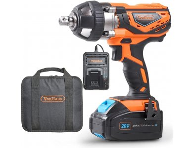 VonHaus Impact Wrench 1/2 '', Portable Battery Wrench 240Nm, Set with Case & Charger - 3500007