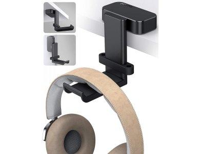 Lamicall DH01 Headphone Hanger Holder, Περιστρεφόμενη Βάση για Headset / Ακουστικά, Κρεμαστή, Under & Over-Desk, Μαύρη