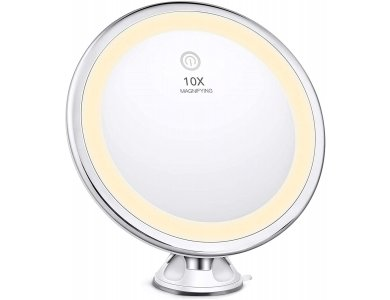 BESTOPE Makeup Mirror / Ring Light with 10x Magnification, Rotating, Touchscreen Adjustable Brightness - BP03007-WHE