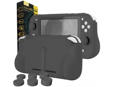Orzly Nintendo Switch Lite cover προστασίας Comfort Grip με Kickstand & Pack of 6 Thumb Grips - Grey