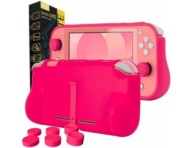 Orzly Nintendo Switch Lite cover προστασίας Comfort Grip με Kickstand & Pack of 6 Thumb Grips - Pink