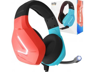 Orzly Hornet RXH-20 LED Gaming Headset Noise-cancelling Microphone (PC / PS5 / Xbox / Switch / Mac), Tanami - Nintendo Color