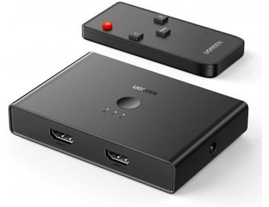 Ugreen HDMI 2-4 Switch/Splitter 4K@60Hz HDCP 2.2, Optical TOSLINK and 3.5mm Audio Output & Remote Control - 70690