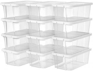 Songmics Κουτιά Αποθήκευσης & Οργάνωσης με Καπάκι Σετ των 12τμχ, 36 x 22 x 13.5cm - LSP13WT