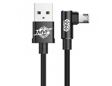 Baseus MVP Elbow Γωνιακό 90° Καλώδιο 1μ. Micro USB σε USB 2.0 Με Νάυλον ύφανση - CAMMVP-B01, Μαύρο