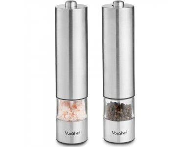 VonShef Salt & Pepper Grinder / Grinder, Battery, Stainless Steel, Set of 2 - 07/956