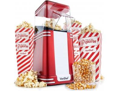 VonShef Retro Popcorn Maker, Vintage Style Popcorn Machine for Healthy Snacks (6 Bowls Included) - 13/261, Red