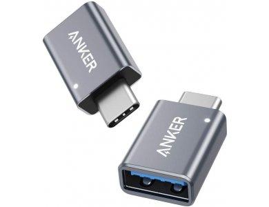 Anker Αντάπτορας USB-C σε USB 3.0 Θηλυκό, OTG Adapter USB-A Female to USB-C Male - B87310A1, Σετ των 2, Ασημί