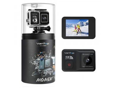 """Vantop Moment 5M 4K / 60FPS Action Camera with Built-in Gimbal, 20MP, WiFi, Waterproof 30Μ, 2 """"IPS LCD, 170 ° Field of View"""