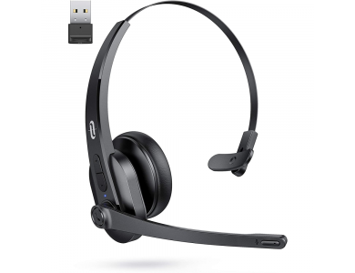 TaoTronics Trucker Bluetooth + USB Dongle Headset 41 with AI Auto Noise-cancelling Microphone, Black - TT-BH041