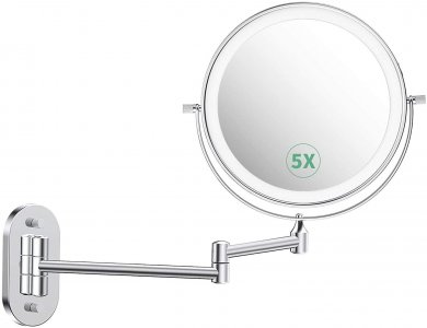 Alvorog Καθρέφτης Mακιγιάζ με Ring Light & 5x Μεγέθυνση, Περιστρεφόμενος, Touchscreen Ρυθμιζόμενη Φωτεινότητα