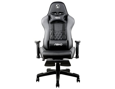 ABKO AGC21 Premium Gaming Chair, PU Leather Office Chair with 2 Pillows, Black / Gray