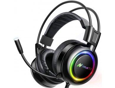 ABKO B780 RGB LED Gaming Headset 7.1 360° Surround Sound με Vibration, Noise-cancelling Microphone, Black