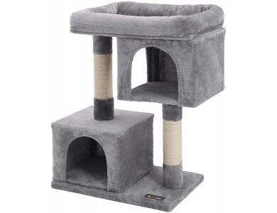 FEANDREA Cat Tree with Sisal-Covered Scratching Posts and 2 Plush Condos, Cat Furniture for Kittens - PCT61W, Light Grey