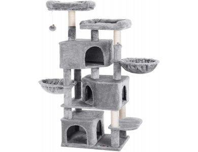 FEANDREA Velvet Nail Track with Pillars, 8 Level Cat Tree with 3 Hiding Houses, from Sisal 55x40x164cm - PCT98W, Light Gray