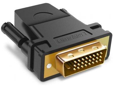 Ugreen DVI to HDMI Adapter, DVI 24+1 Male to HDMI Female Αντάπτορας - 20124, Μαύρος