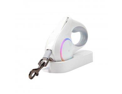 PetKit Go Shine Retractable Lead RGB LED, Φωτιζόμενο Λουρί/Οδηγός Σκύλου Ιμάντας 4.5m έως 30kg, Λευκή
